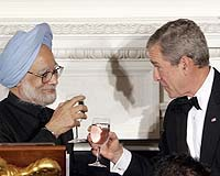 Indian Prime Minister Manmohan Singh and US President George Bush. Photo courtesy AFP