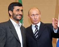AFP file image of Putin having a friendly chat with Iran's President Ahmadinejad earlier this year.