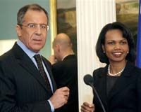File image of Sergei Lavrov, seen here with Condeleezza Rice.